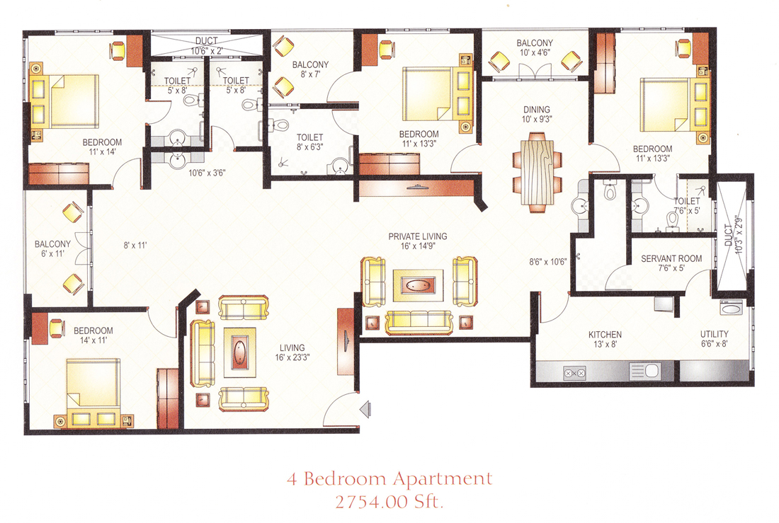 Welcome to royal embassy 4 floor apartment plan